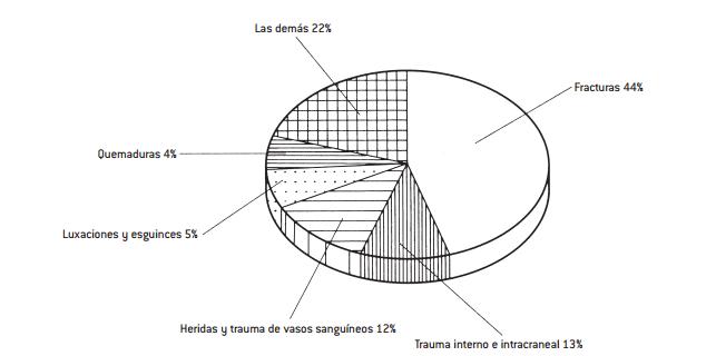 *Fuente: SSA, INEGI. Fig. 24-3. Distribución porcentual de la mortalidad por accidentes (México, 1993-1997). Vehículos de motor 39% Las demás 35% Ahogamiento y sumersión 8% Caídas accidentales 12% Envenenamiento accidental 3% Proyectil de arma de fuego 3%